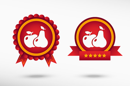 quality guarantee: Apple and pear stylish quality guarantee badges. Colorful Promotional Labels Illustration