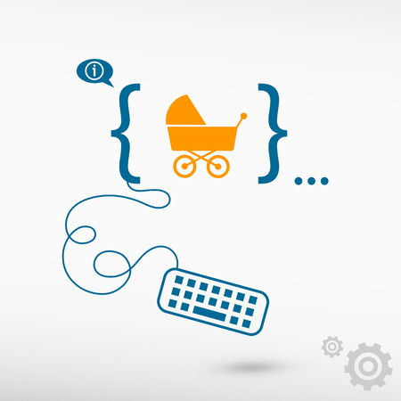 baby development: Baby buggy and flat design elements. Design concept icons for application development, web design, creative process, social media, seo, web page coding and programming. Illustration