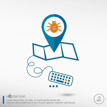 acarid: Bug icon and pin on the map. Line icons for application development, creative process. Illustration