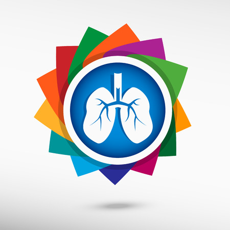 Lung icon color icon, vector illustration. Flat design style Illustration