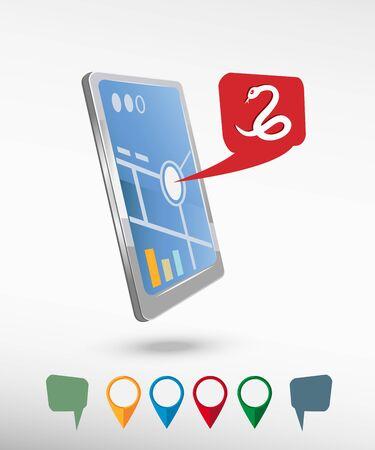 imminence: Icono de la serpiente y la perspectiva realista teléfono inteligente vectorial. Conjunto de brillantes punteros de los mapas para la impresión, web, elemento presentación y maqueta aplicación. Vectores