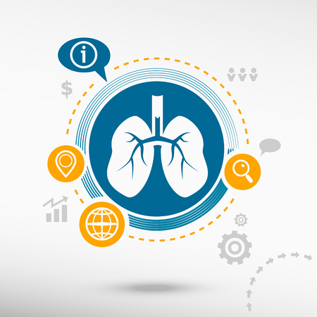 Lung icon and creative design elements. Flat design concept Ilustrace