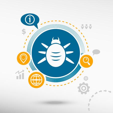 acarid: Bug icon and creative design elements. Flat design concept Illustration