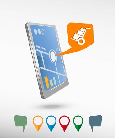 smartphone in hand: Hand truck and perspective smartphone vector realistic. Set of bright map pointers for printing, website, presentation element and application mockup. Illustration