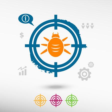 Bug icon on target icons background. Flat illustration.