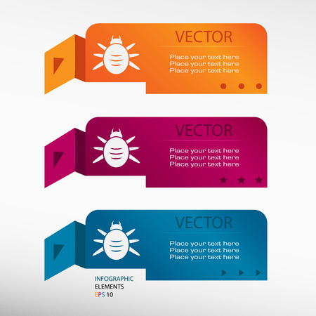 acarus: Bug icon on origami paper banners. Can be used for workflow layout, diagram, business step options, banner, web design