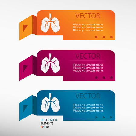 Lung icon on origami paper banners. Can be used for workflow layout, diagram, business step options, banner, web design