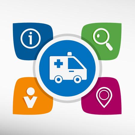 Ambulance icon and icons set vector illustration. Modern Flat style