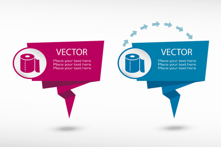 fecal: Toilet paper icon on origami paper speech bubble or web banner, prints. Vector illustration