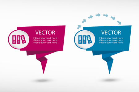 web banner: Binders vector icon on origami paper speech bubble or web banner, prints. Vector illustration