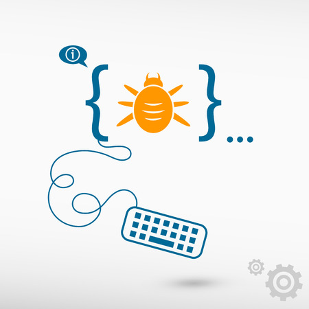Bug icon and flat design elements. Design concept icons for application development, web design, creative process.