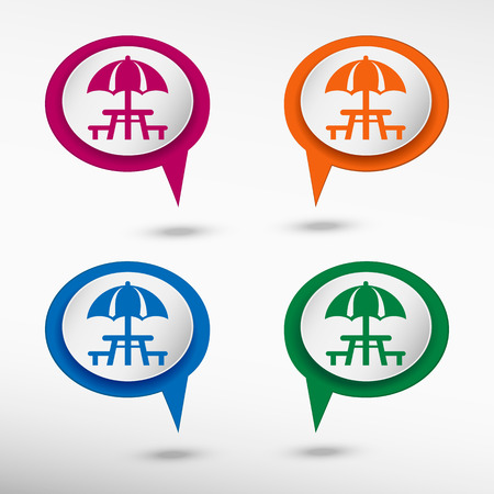 picnic table: Camping and picnic table icon on colorful chat speech bubbles