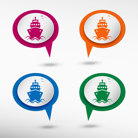 chat bubbles: Ship icon on colorful chat speech bubbles Illustration