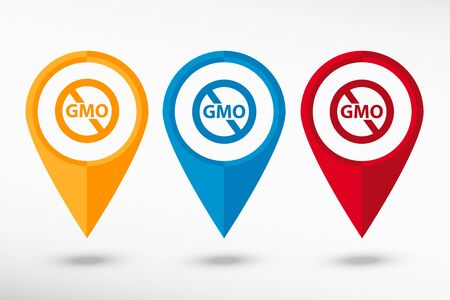 modified: Stop GMO. Without Genetically modified food symbol.  No GMO sign icon map pointer, vector illustration. Flat design style