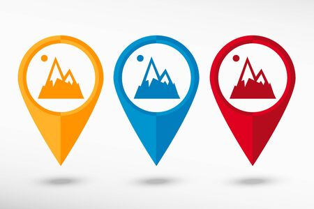 terrain: Mountain icon map pointer, vector illustration. Flat design style