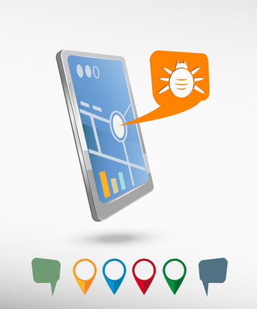 Bug icon and perspective smartphone vector realistic. Set of bright map pointers for printing, website, presentation element and application mockup.