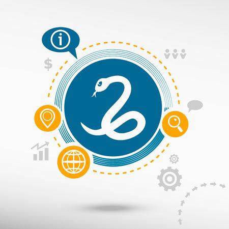 imminence: Icono de la serpiente y de elementos de diseño creativos. Concepto de diseño Flat