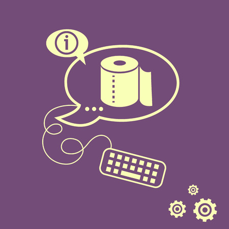 Toilet paper icon and keyboard design elements. Line icons for application development, web page coding and programming, creative process