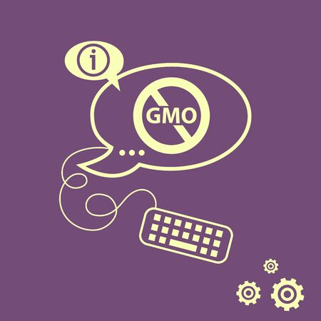 genetically: Stop GMO. Without Genetically modified food symbol.  No GMO sign icon and keyboard design elements. Line icons for application development, web page coding and programming, creative process