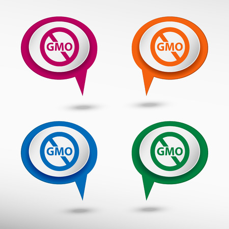 genetically: Without Genetically modified food symbol on colorful chat speech bubbles Illustration