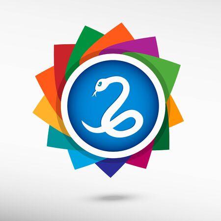 imminence: Icono de color de la serpiente, ilustración vectorial. Estilo de diseño Flat Vectores