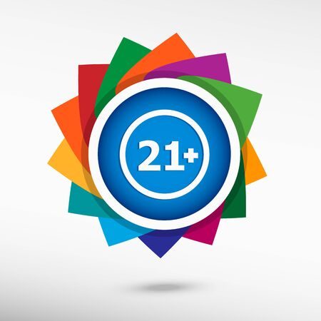 twenty: 21 plus years old sign. Adults content color icon, vector illustration. Flat design style
