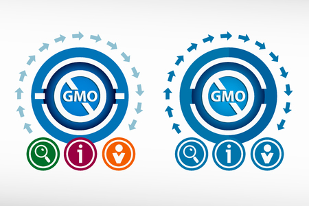 gmo: Without Genetically modified food symbol and creative design elements. Flat design concept. Illustration