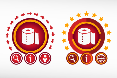 fecal: Toilet paper icon on creative background. Red design concept for banner, web, advertising, print