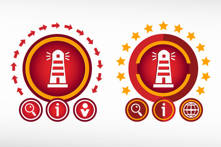 illuminative: Lighthouse icon on creative background. Red design concept for banner, web, advertising, print.