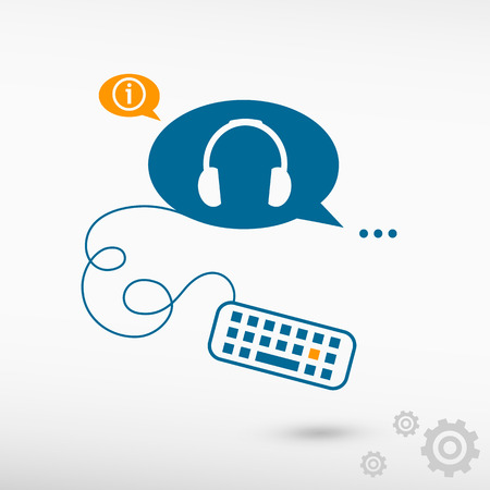 earpieces: Headphone and keyboard on chat speech bubbles. Line icons for application and creative process. Illustration
