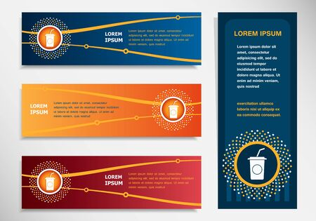 carbonated beverage: Soft drink icon on modern abstract flyer, banner, brochure design template. Collection for Business