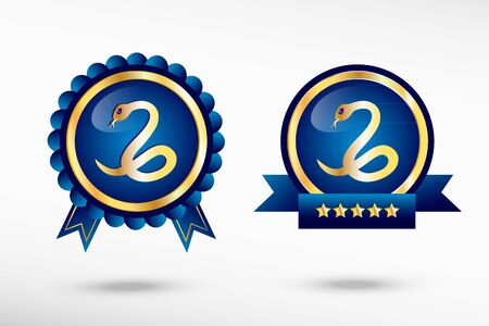 imminence: Snake icon  stylish quality guarantee badges. Blue colorful promotional labels