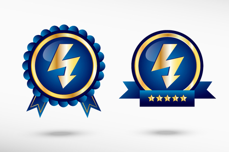 quality guarantee: Lightning icon stylish quality guarantee badges. Blue colorful promotional labels