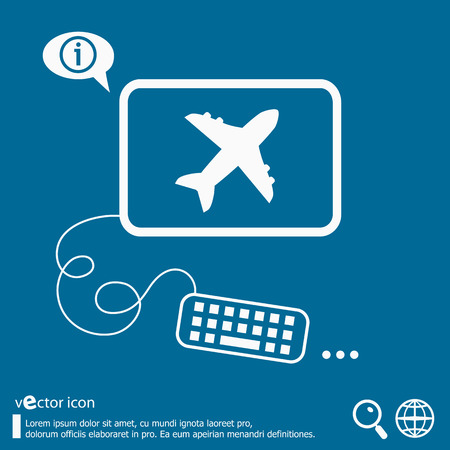 Airplane icon and flat design elements. Line icons for application development, web page coding and programming, creative process, social media, print.