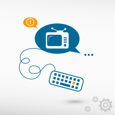 televisor: Televise and keyboard on chat speech bubbles. Line icons for application and creative process.
