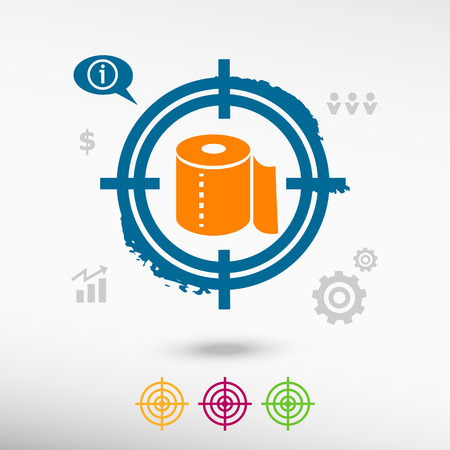 fecal: Toilet paper icon on target icons background. Flat illustration.