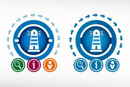 illuminative: Lighthouse icon and creative design elements. Flat design concept.
