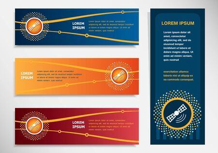 telephony: Satellite icon on modern abstract flyer, banner, brochure design template. Collection for Business