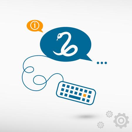 imminence: Icono de la serpiente y el teclado en las burbujas del discurso de la charla. Iconos de línea para la aplicación y el proceso creativo. Vectores