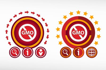 modified: Without Genetically modified food symbol on creative background. Red design concept for banner, web, advertising, print Illustration