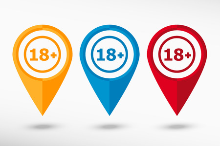 18 years old: 18 plus years old sign. Adults content icon  map pointer, vector illustration. Flat design style