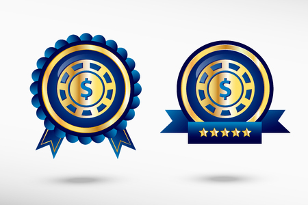 quality guarantee: Casino gambling chips icon in a stylish quality guarantee badges