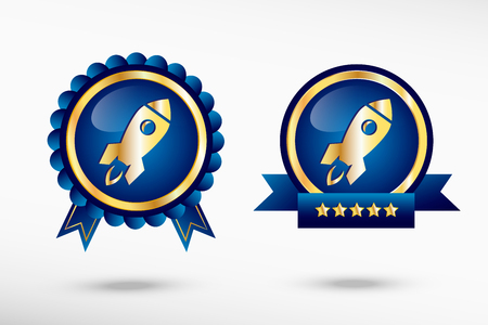 quality guarantee: Rocket icon in a stylish quality guarantee badges