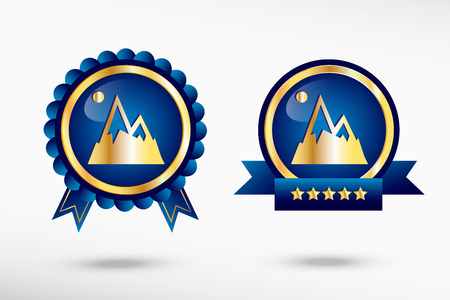 quality guarantee: Mountain icon in a stylish quality guarantee badges Illustration