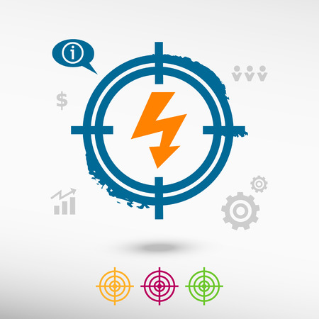 discharge: Lightning icon on target icons background