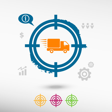 move gun: Fast delivery service icon on target icons background