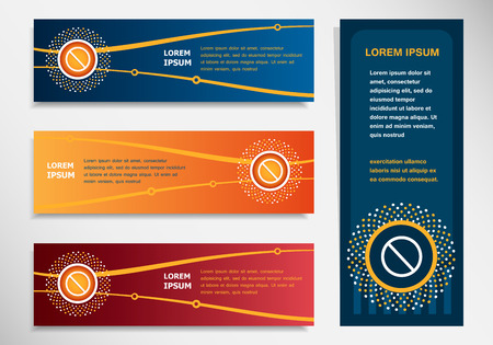 restrictive: Not Allowed Sign on modern abstract flyer, banner, brochure design template. Collection for Business Illustration