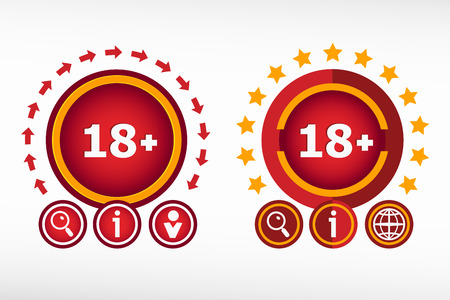 18 years old: 18 plus years old sign. Adults content icon on creative background. Red design concept for banner, web, advertising, print.