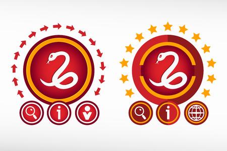 imminence: icono de la serpiente en el fondo creativo. concepto de diseño de color rojo para la bandera, web, publicidad, impresión.