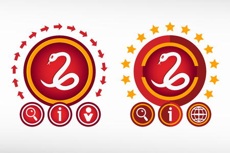 imminence: Snake icon on creative background. Red design concept for banner, web, advertising, print. Vectores